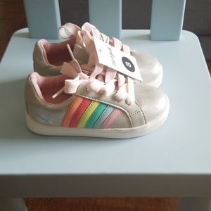 Cat and Jack Silver lace up sneakers with rainbow